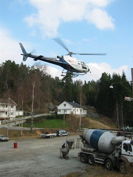 Helicopter lasteflyging betong