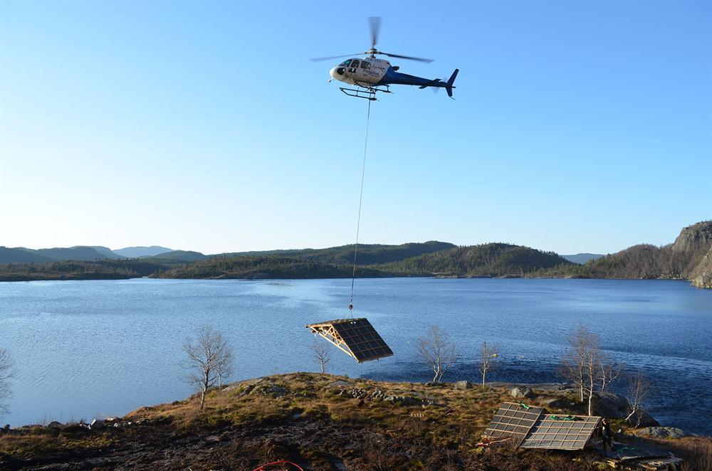 Helikopter lasteflygning hytte